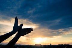 Silhouettez l'oiseau humain de forme de mains volant au-dessus du fond de ciel et de coucher du soleil Photos libres de droits