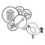 silhouettez l'oiseau mignon de bande dessinée avec la bulle de dialogue avec des éléments Image stock