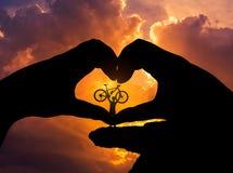 Silhouettez la bicyclette de levage de support d'homme dans la forme de coeur de mains Image libre de droits