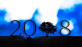 Silhouettez la jeune femme s'asseyant au sol, 2018 nouvelles années Photographie stock