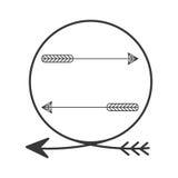 Silhouettez la pointe de flèche en cercle de forme avec des flèches à l'intérieur Image stock