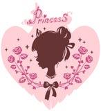 Silhouettez la tête de la fille la princesse dans un cadre des fleurs Photo libre de droits