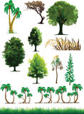 Silhouettez la vue des arbres, centrales, herbe, faune Photos libres de droits