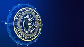 Silhouettez le bitcoin de cryptocurrency de pièce d'or sur un fond bleu Photo stock