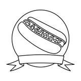 silhouettez le cadre circulaire avec le ruban et le hot-dog avec de la sauce Image stock