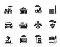 Silhouettez le genre différent d'icônes d'assurance et de risque illustration stock