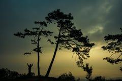 Silhouettez le lever de soleil de attente d'homme sur la montagne photographie stock libre de droits