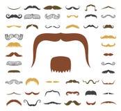 Silhouettez le massage facial humain adulte bouclé de mode de symbole de coiffeur et de monsieur de barbe de collection de hippie Image stock