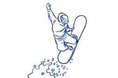 Silhouettez le surfeur sautant sur un surf des neiges, sports d'hiver Images libres de droits