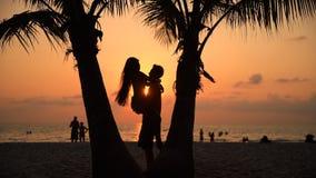 Silhouettez les couples affectueux embrassant au coucher du soleil sur la nature tropicale étonnante de fond banque de vidéos