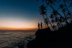 Silhouettez les couples dans l'amour sur le bord de mer parmi des palmiers Photo stock
