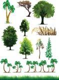 Silhouettieren Sie Ansicht der Bäume, Anlagen, Gras, wild lebende Tiere Lizenzfreie Stockfotos