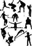 Silhouettieren Sie Ansicht der menschlichen Motive, Sport, Stellungen Stockbilder