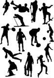 Silhouettieren Sie Ansicht der menschlichen Motive, Sport, Stellungen Stockfotos