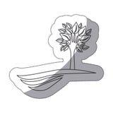 silhouettieren Sie Baum mit Blättern und Stamm in der Formhand im Berg vektor abbildung