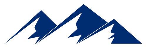 Silhouettieren Sie blauen Berg mit drei Spitzen auf weißem Hintergrund stock abbildung