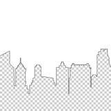 Silhouettieren Sie Broschürenbroschürenhintergrund des Wolkenkratzerstadtlandschaftsgeometrischen Designs Stockbilder