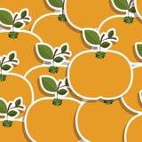 silhouettieren Sie buntes Muster von Tangerinen Früchte tragen mit Stamm und Blättern stock abbildung