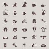 Silhouettieren Sie das nette Tier- und Geschäft- für Haustierewerkzeugikonendesign, das für sho eingestellt wird Lizenzfreie Stockfotos