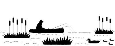 Silhouettieren Sie den Fischer auf dem See. Stockfotos