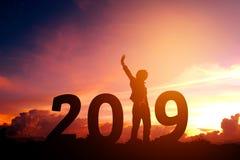 Silhouettieren Sie den jungen Mann, der für 2019 neues Jahr glücklich ist Lizenzfreie Stockfotos