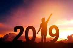 Silhouettieren Sie die junge Frau, die für 2019 neues Jahr glücklich ist Lizenzfreie Stockbilder