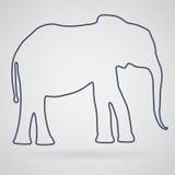 Silhouettieren Sie Entwurf des afrikanischen oder asiatischen Elefanten auf einem hellgrauen Stockfotografie