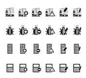 Silhouettieren Sie 24 Geschäfts-, Büro- und Websiteikonen Stockbilder