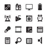 Silhouettieren Sie Handyleistungs-, -internet- und -büroikonen Stockfoto