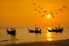 Silhouettieren Sie kleines Fischerboot mit Vögeln und Sonnenuntergängen Lizenzfreie Stockbilder