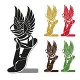 Silhouettieren Sie Laufschuh mit Flügeln, Symbol des Handels, Gewinn oder Stockbild