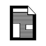 Silhouettieren Sie Monochrom mit Papierblatttext und -graphiken lizenzfreie abbildung