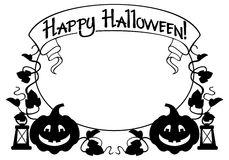 Silhouettieren Sie Rahmen mit Halloween-Kürbis und Text u. x22; Glückliches Halloween! u. x22; Stockfotografie