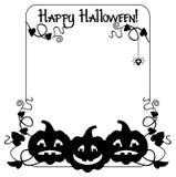 Silhouettieren Sie Rahmen mit Halloween-Kürbis und Text u. x22; Glückliches Halloween! u. x22; Lizenzfreie Stockbilder