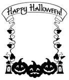 Silhouettieren Sie Rahmen mit Halloween-Kürbis und Text u. x22; Glückliches Halloween! u. x22; Stockbilder
