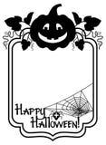 Silhouettieren Sie Rahmen mit Halloween-Kürbis und Text u. x22; Glückliches Halloween! u. x22; Lizenzfreies Stockfoto