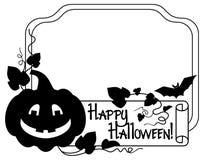 Silhouettieren Sie Rahmen mit Halloween-Kürbis und Text u. x22; Glückliches Halloween! u. x22; Stockbild