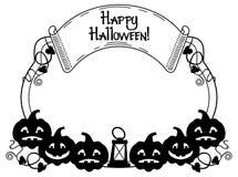 Silhouettieren Sie ringsum Rahmen mit Halloween-Kürbis und Text u. x22; Glückliches Halloween! u. x22; Stockfotografie