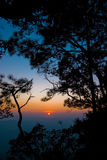 Silhouettieren Sie Sonnenuntergang auf dem Berg an Nationalpark Phukradueng Stockfotos