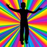 Silhouettieren Sie tanzenden Menschen, Musikkampfpartei, Discostrahl Stockfoto