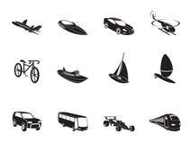 Silhouettieren Sie unterschiedliche Art von Transport- und Reiseikonen Lizenzfreies Stockfoto