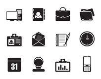 Silhouettieren Sie Web-Anwendungs-, Geschäfts- und Büroikonen, Universalikonen Lizenzfreie Stockfotos