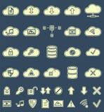 Silhouettieren Sie Wolken-Speicher, Datenanalyse, Netz Lizenzfreies Stockfoto