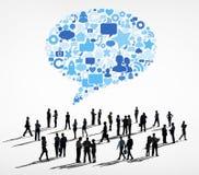 Silhouettiert Gruppe Geschäftsleute Kommunikations- Lizenzfreies Stockfoto