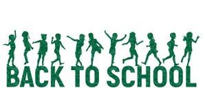 Silhouettiert Kinder zurück zu Schule auf Schulbehördehintergrund Lizenzfreie Stockfotografie