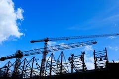 Silhouettierte Baustelle Stockfoto