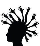Silhouettierter Kopf und Hände Stockfotografie