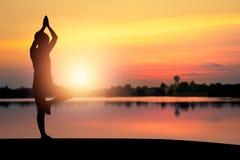 Silhouettte женщин делая йогу в парке Стоковое фото RF