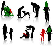 Silhouettte de la familia stock de ilustración