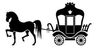 Silhouetvervoer en paard Stock Afbeelding